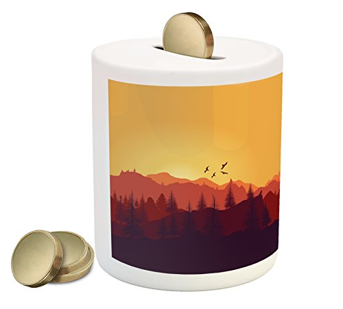 Lunarable Landscape Piggy Bank, Vector Panoramic Mountain Sunset with Buildings and Birds Image, Printed Ceramic Coin Bank Money Box for Cash Saving, Marigold Orange Ruby Maroon (Bird Set Coin)