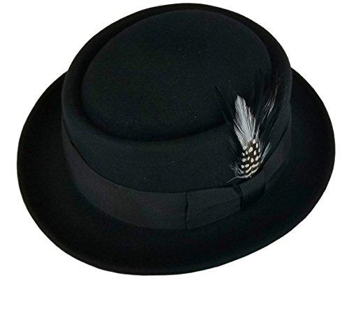 Men's Crushable Wool Felt PorkPie Fedora Hats Black DTHE09 (Wool Felt Pork Pie Hat)