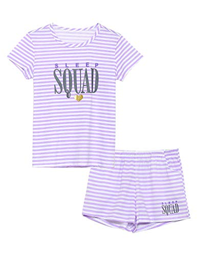 Summer Pajamas for Girls - Stripe & Glittering Heart PJS Pal Cute Jammies Set Big Kids Size -