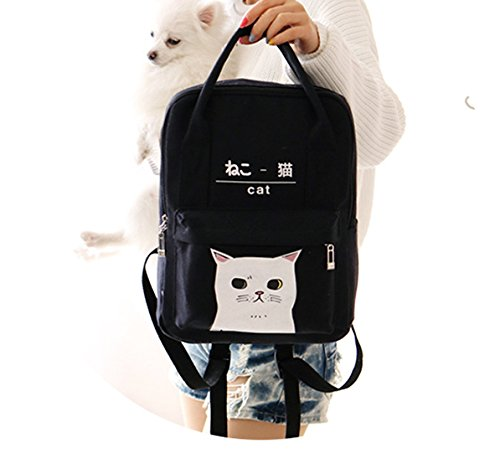 Women Cat Black Girls Himifashion Korean And Japanese Kawaii Bags Backpack Canvas School Style gdn4q8