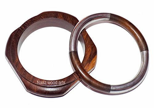 Naaz wood arts Women Wooden Stylish Bangles woomen's Wooden Bangle in Brown&Silver Colour Thai Stylish of Being Good -