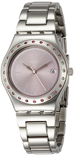 Swatch Pinkaround Pink Dial Ladies Stainless Steel Watch - Pink Ladies Stainless Dial Steel