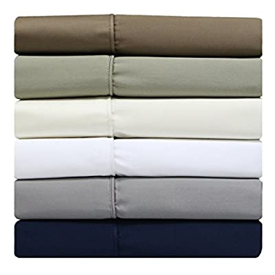 Solid Split-Top -King: Adjustable King Bed Size Sheets, 4PC Bed Sheet Set, 100% Cotton, 300 Thread Count, Sateen Solid, Deep Pocket