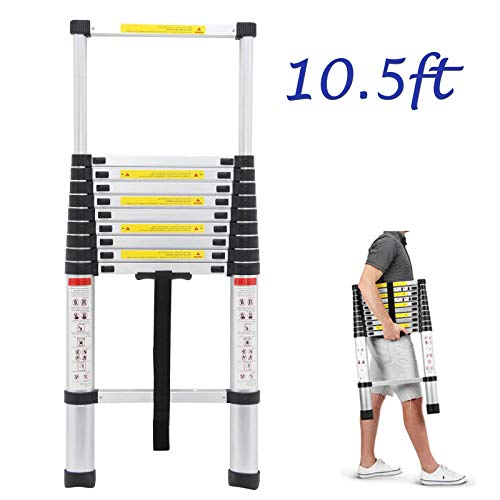 Bowoshen Telescoping Ladder 10.5ft Aluminum Telescopic Extension Multi Purpose Steps Non-Slip 330 lbs Capacity for Indoor Outdoor Work ()