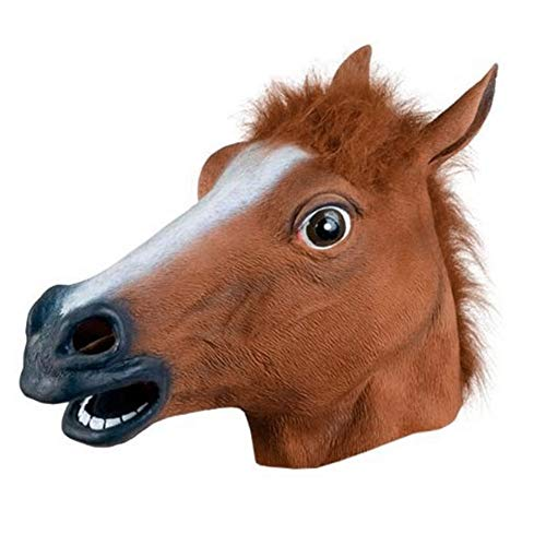 Tulas Novelty Creepy Horse Halloween Head Latex Rubber Costume Theater Prop Party Mask Offering Discounts Silicone Mask (Brown) -