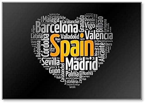 Lista de ciudades y pueblos en España compuesto en forma de corazón, Word Cloud Collage Classic imán para nevera: Amazon.es: Hogar