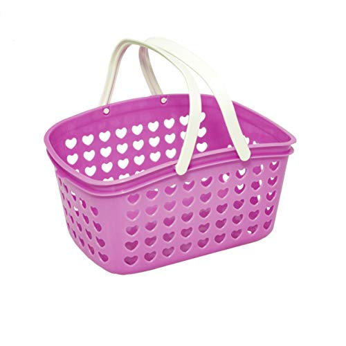 Plastic Organizing Storage Basket with Handles and Holes - Small Bin for Shower, Closet, Kitchen, Garden, Bathroom, Toys, Candy by Valenoks (Lilac) from Valenoks
