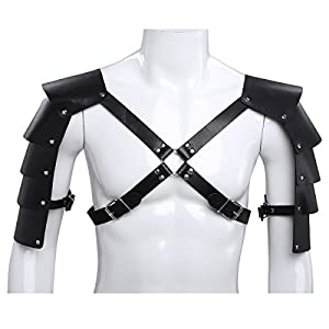 iiniim Men's Adjustable Faux Leather Body Chest Harness with Shoulder Armors Buckles