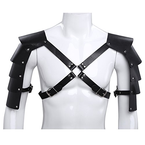 iiniim Men's Adjustable Faux Leather Body Chest Harness with Shoulder Armors Buckles -