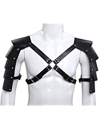 Men's Adjustable Faux Leather Body Chest Harness with Shoulder Armors Buckles