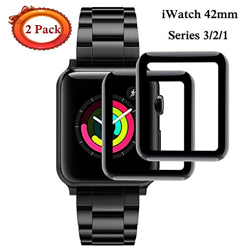 Apple Watch 42mmTempered Glass Screen Protector, [3D Tempered Glass Full Coverage][Scratch Resistant][Waterproof] (Black)[Anti-Scratch] Screen Film Compatible with iWatch 42MM Series 1/2/3 [2 Pack]