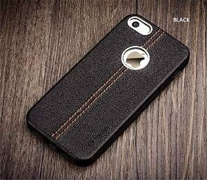 ikazen Vorson LEXZA Series Double Stitch Leather Shell Back Cover for Apple iPhone 5S, 5 SE   Black