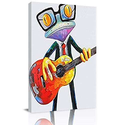 Home Decor Canvas Wall Art Painting, Business Suit Frog Play Guitar Prints, Morden Artwork Framed for Living Room Wall Decorations Ready to Hang 24
