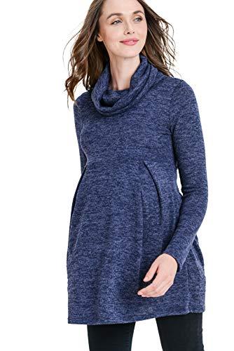 Hello MIZ Women's Sweater Knit Maternity Long Sleeve Tunic Top (L,Cowl/Navy)