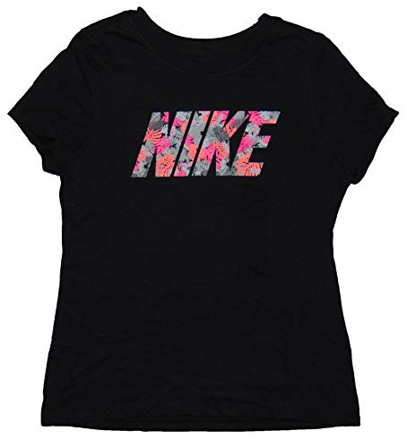 NIKE Girl's Graphic Tee Shirt Athletic Cut Medium Cotton Black by NIKE (Image #2)