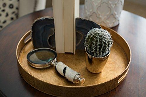 Modern Gold Mini Potted Artificial Succulent / Faux Plant Home Decor - Chrome Cactus