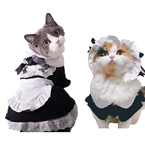 FLAdorepet Pet Maid Costume with Hat Cat Halloween Party Costume Outfits for Small Medium Dog Black (M, -