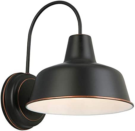 Design House 579375 Mason 1 Indoor Outdoor Wall Light, Oil Rubbed Bronze, 10in Renewed