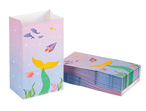 Party Treat Bags - 36-Pack Gift Bags, Mermaid Party Supplies, Paper Favor Bags, Recyclable Goodie Bags for Kids, Under The Sea Design, 5.2 x 8.7 x 3.3 Inches