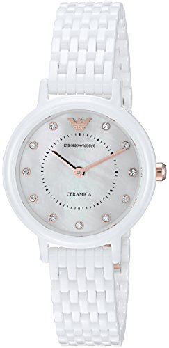 Emporio Armani Women's Quartz Ceramic Dress Watch, Color:...