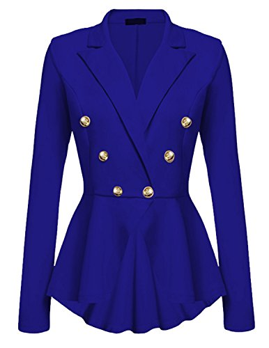 (Cekaso Women's Peplum Blazer One Button Crop Frill Ruffle Hem High Low Work Blazer, Blue, USsize M=Tagsize L)