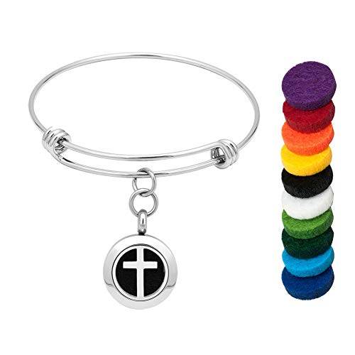 LoEnMe Jewelry Aromatherapy Essential Oil Diffuser Bracelet Cross Jesus Bangle Gift for Friends