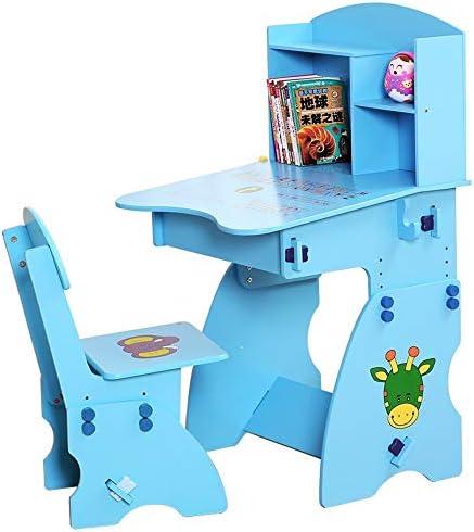 子供用ドテーブルチェアセット 机椅子セット デスクスツールセット 調節可能な子供のアートウッドテーブルセットワークステーションの高さのために傾けることができる子供のテーブルと椅子の研究机椅子テーブルセット 子供 プレイ学習絵かきダイニング (Color : Blue)
