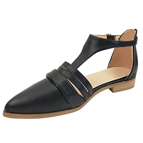 〓COOlCCI〓Women's Slingback Low Heel Pumps Shoes Pointed Toe Ankle Strap Summer Pumps Sandals Single T Strap Sandal Black ()