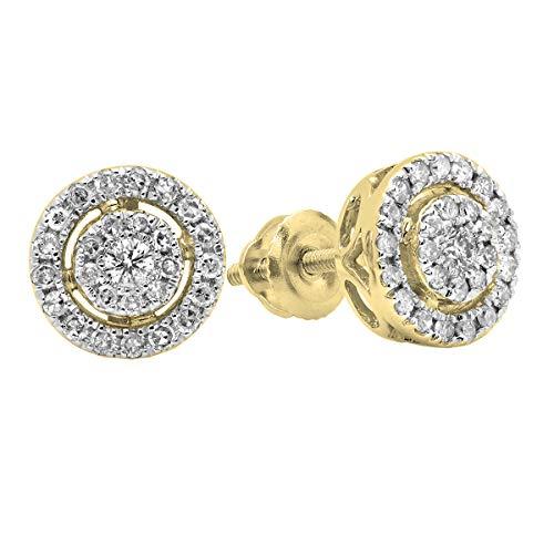 (Dazzlingrock Collection 0.40 Carat (ctw) 18K Round White Diamond Ladies Flower Cluster Stud Earrings, Yellow Gold)