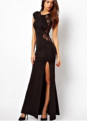 Lace for Wrap Splicing Full Length Women DragonPad Black Dress 7ZPqTEww