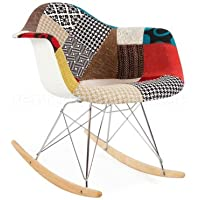 Eames Style RAR Rocking Arm Chair - Special Patchwork Upholstery