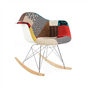 eames style rar rocking arm chair special patchwork upholstery kitchen dining. Black Bedroom Furniture Sets. Home Design Ideas
