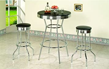 3 piece retro black bistro table pub set with 2 barstools - Kitchen Bistro Tables And Chairs