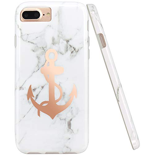 JIAXIUFEN Shiny Rose Gold Anchor White Marble Design Slim Shockproof Flexible Bumper TPU Soft Case Rubber Silicone Cover Phone Case Compatible with iPhone 7 Plus/8 Plus/6 Plus/6S Plus