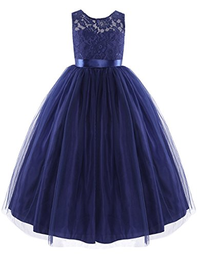 iiniim Girls Princess Tulle Pageant Ball Gown Wedding Bridesmaid Flower Girl Dress Navy Blue (Halloween Ball Gowns)