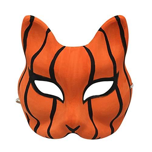 (YangYong Kitsune Cat Cosplay Mask, Hand-Paint Animal Masquerade Ball Half)