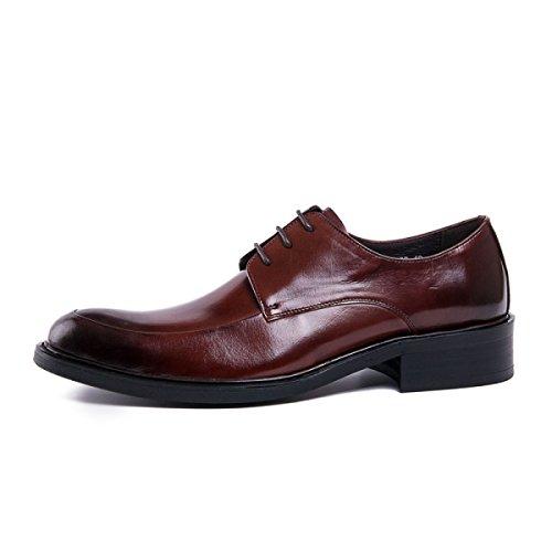 Puntige Lyzgf Mannen Gentleman Business Casual Mode Verfijnd Bruiloft Leren Schoenen Bruin