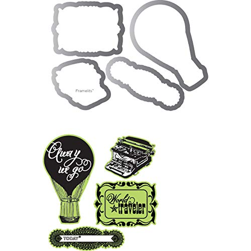 Sizzix Echo Park Framelits Die Cutting Template and Clear Acrylic Stamp Set Everyday Eclectic (12 Pack)