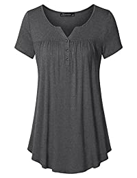 Vinmatto Women's Short Sleeve Henley V Neck Pleated Button Details Tunic Shirt Top