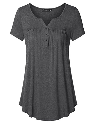 Vinmatto Women's Short Sleeve Henley V Neck Pleated Button Details Tunic Shirt Top(XL,Deep Gray)