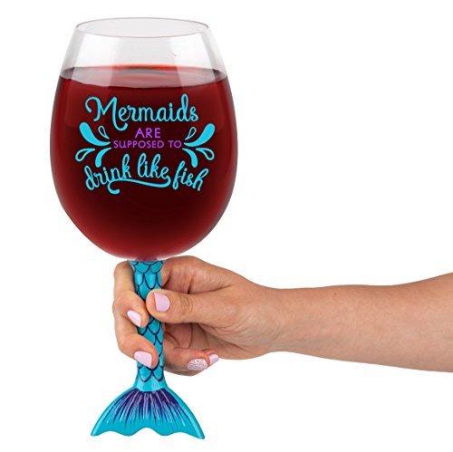 BigMouth Inc Mermaid Tail XL Wine Glass, Funny Novelty Wine Glass, Holds 750ml, Mermaid Gift Idea