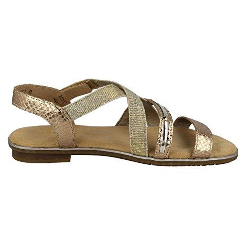 Rosa In Con Cinturino Sandalo Velcro Rieker Rose oro Gold Piatto qxwvOS1g