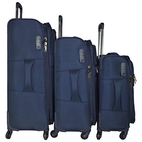 TRAWORLD Nylon Set Of 3 20''+24''+28''   Blue Soft Sided Luggage Sets