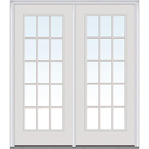 National Door Company Z001636L Steel, Primed, Left Hand in-Swing, Center Hinged Patio Door, Clear Glass Internal Grilles, 64