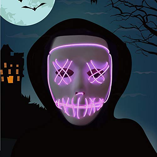 Halloween Mask,LED Masks Glow Scary Mask Light up Cosplay Mask Rave Mask for Festival Music Party Parties Costume Christmas (Pruple for Halloween mask)