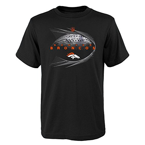 NFL by Outerstuff NFL Denver Broncos Youth Boys Jet Stream Short Sleeve Tee Black, Youth Medium(10-12) by NFL by Outerstuff