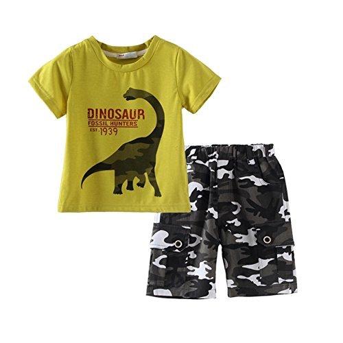 UWESPRING Boys Summer Sets Dinosaur T-shirt Camouflage Pant Suit 4T Green