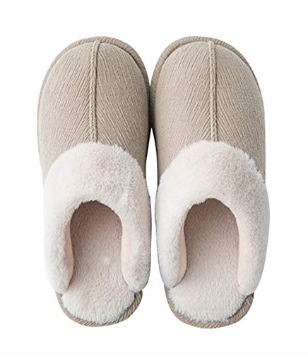 Pantofole Da Per Inverno Camera Unisex Donna Morbido Scarpe Antiscivolo Liveinu Calde Ciabatte Peluche Caldo Uomo Letto Interno Cachi Home dWznqH