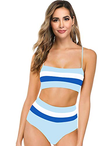 Hotvivid Women's Two Piece Bikini Sexy High Waist Three-Color Stitching Stripe Swimsuit(Blue,S)