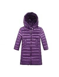 EkarLam Children Kids Chic Plain Long Hooded Zip Outwear Down Jacket Coat